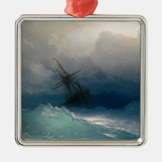 Ship on Stormy Seas, Ivan Aivazovsky Silver-Colored Square Ornament