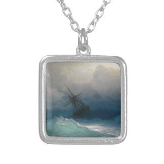 Ship on Stormy Seas, Ivan Aivazovsky Silver Plated Necklace