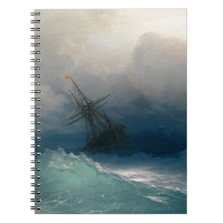 Ship on Stormy Seas, Ivan Aivazovsky - Spiral Note Book