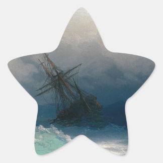 Ship on Stormy Seas, Ivan Aivazovsky Star Sticker