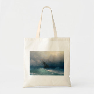 Ship on Stormy Seas, Ivan Aivazovsky - Tote Bag