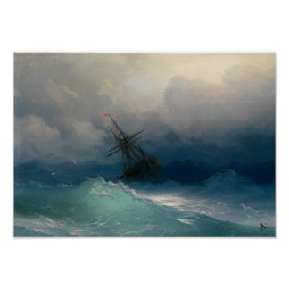 Ship on Stormy Seas Poster
