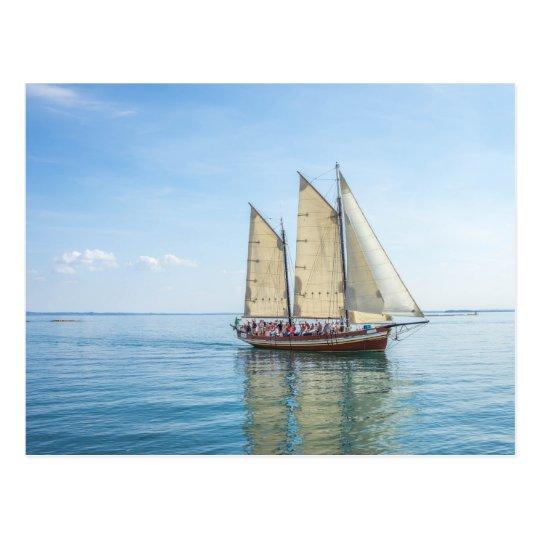 Ship on the lake postcard