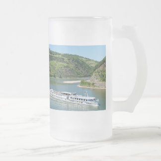 Ship on the Rhine with Oberwesel Frosted Glass Beer Mug