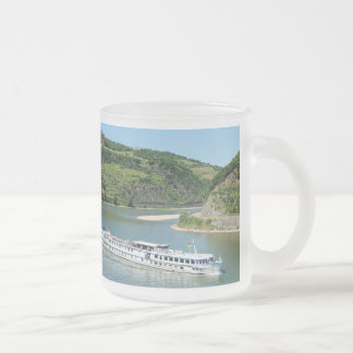 Ship on the Rhine with Oberwesel Frosted Glass Coffee Mug