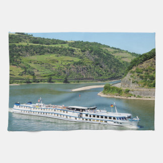 Ship on the Rhine with Oberwesel Kitchen Towel