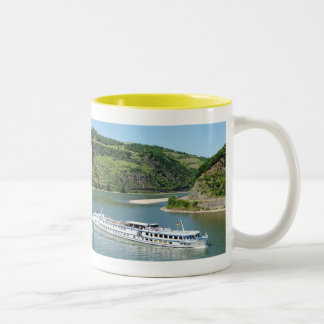 Ship on the Rhine with Oberwesel Two-Tone Coffee Mug