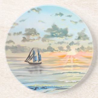 Ship on the sea painting coaster