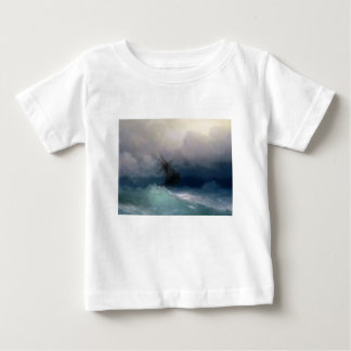 Ship On The Stormy Sea Painting Baby T-Shirt