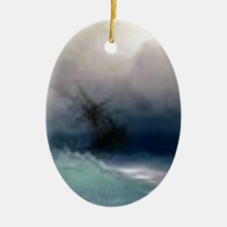 Ship On The Stormy Sea Painting Ceramic Ornament