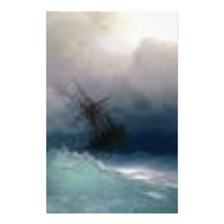 Ship On The Stormy Sea Painting Stationery