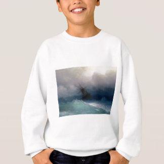 Ship On The Stormy Sea Painting Sweatshirt