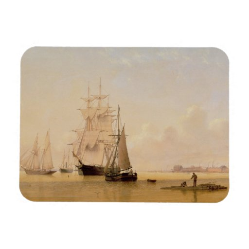 Ship Painting (oil on canvas) 2 Rectangle Magnets