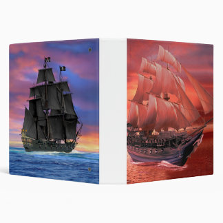 SHIP SAILS AT SUNSET 3 RING BINDER