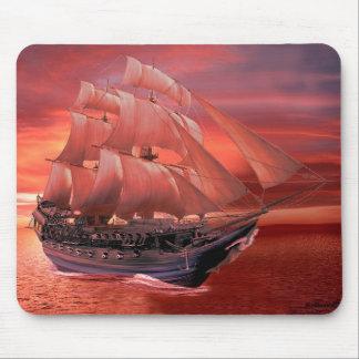 SHIP SAILS AT SUNSET MOUSE PAD