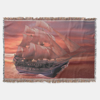 SHIP SAILS AT SUNSET THROW BLANKET