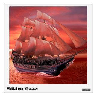 SHIP SAILS AT SUNSET WALL DECAL