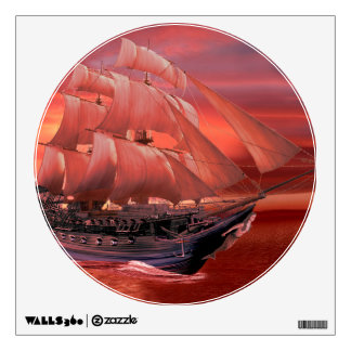 SHIP SAILS AT SUNSET WALL DECAL