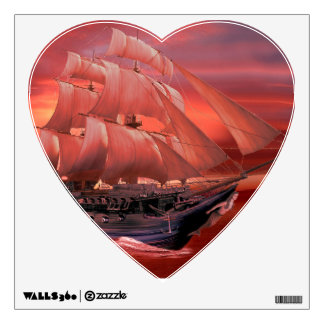 SHIP SAILS AT SUNSET WALL STICKER