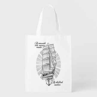 Ship Schooner Quote Reusable Grocery Bag