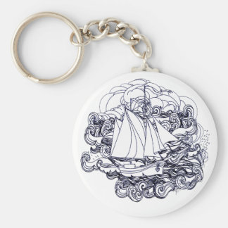 Ship Stuck in the Storm Basic Round Button Keychain