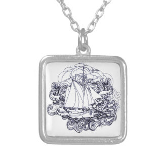 Ship Stuck in the Storm Silver Plated Necklace