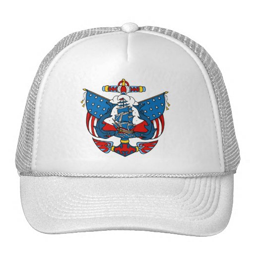 Ship Tattoo in Red and Blue Baseball Cap Mesh Hats