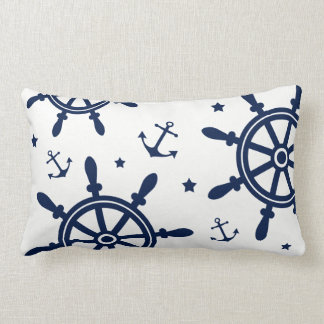 Ship Wheel, Anchor, Blue and White, Nautical Lumbar Pillow