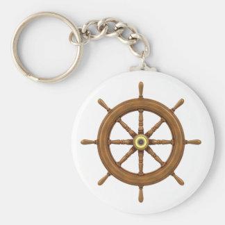 ship wheel inspired design basic round button keychain