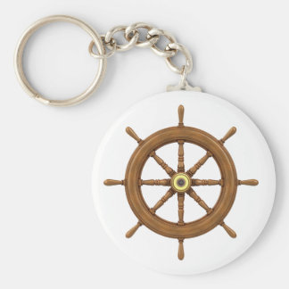 ship wheel inspired design keychain