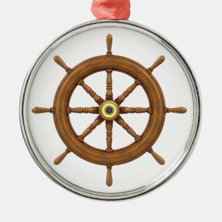 ship wheel inspired design Silver-Colored round ornament