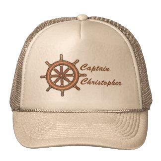 Ship Wheel on Tan Personalized Trucker Hat