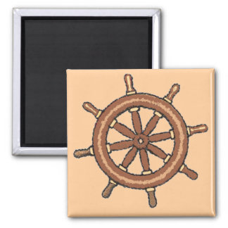 Ship Wheel on Tan Square Magnet