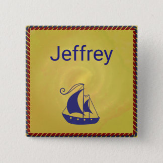 Ship with Rope Frame 2 Inch Square Button