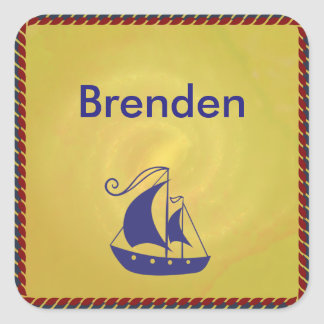 Ship with Rope Frame Square Sticker
