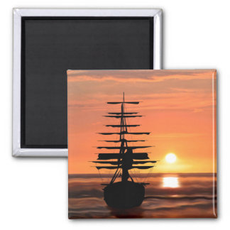 Ship with sunset magnet