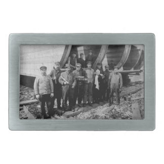 Shipbuilders in Marine City Michigan Vintage Rectangular Belt Buckle