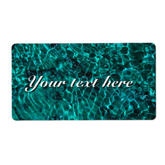 Shipiping labels with teal blue water pattern