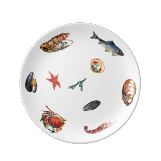 Shipping. 21.6 cm Seafood Porcelain Plate