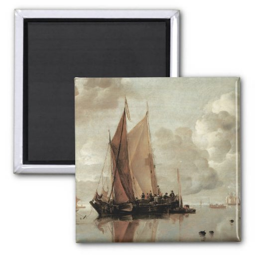 Shipping in Calm Waters of an Estuary Fridge Magnet