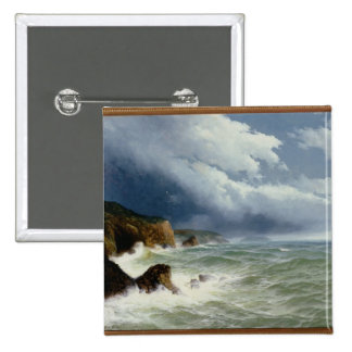 Shipping in Open Seas, 1882 (oil on canvas) 2 Inch Square Button