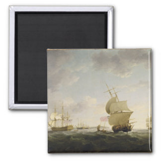 Shipping in the English Channel, c.1755 (oil on ca Square Magnet