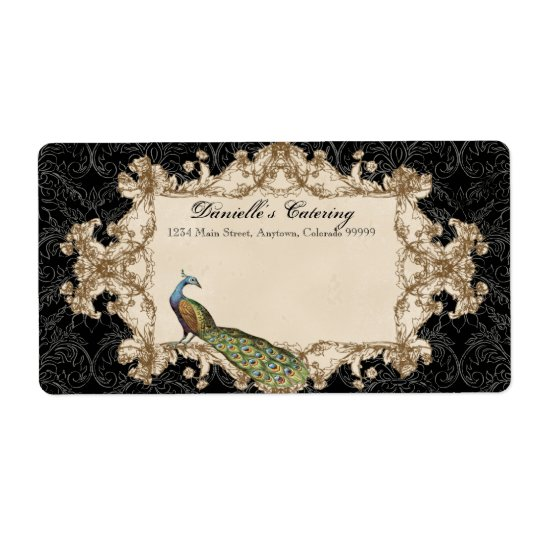 Shipping Labels - Black Vintage Peacock & Etchings