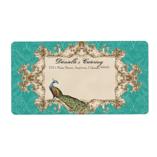 Shipping Labels - Teal Vintage Peacock & Etchings