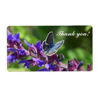 Shipping labels with flowers and butterfly