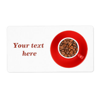 Shipping labels with roasted coffee beans