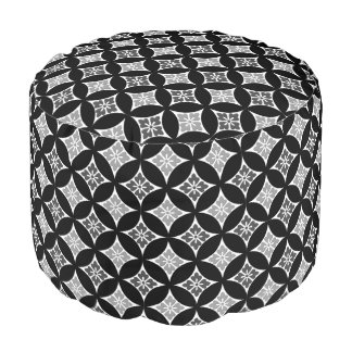 Shippo with Flower Motif, Black, White and Gray Pouf