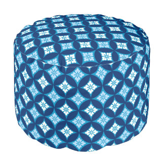 Shippo with Flower Motif, Indigo Blue and White Pouf