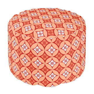 Shippo with Flower Motif, Mandarin Orange Pouf