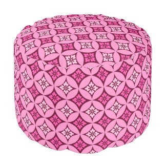 Shippo with Flower Motif, Pink and Burgundy Pouf